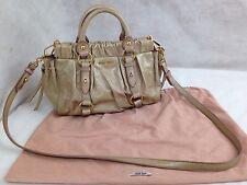 Auth miu miu Leather 2 Way Shoulder Bag Tote Handbag  Beige 5i090660p