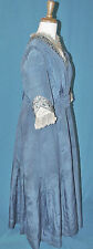 EDWARDIAN c1915 BLUE SILK SATIN AFTERNOON HOUSE DRESS GOWN