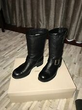 Jimmy Choo Motorcycle Moto Black Leather Biker Boots Size 39.5 / 9.5 $1,050+