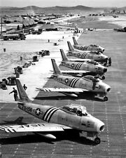 New 8x10 Korean War - Conflict Photo: F-86 Airplanes Readied for Combat, 1951