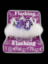 Flashing 40th Birthday Tiara Crown Women's Girls with Feathers and Marabou Trim