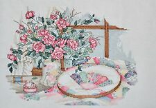 COMPLETED FINISHED CROSS STITCH, PAULA VAUGHAN ,DELICATE BEAUTIES