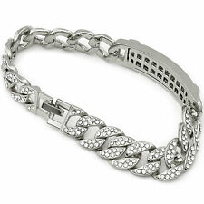 Men's Hip Hop Bracelet Silver Tone Fully Cz Iced Out Miami Cuban Style Link (s)