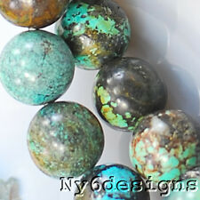 """11x11mm Natural Blue Hubei Turquoise  Round Beads 15"""" (TU782)b for DIY Jewelry"""