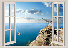 Ocean & Seagulls Window View Repositionable Color Wall Sticker Wall Mural 3 FT