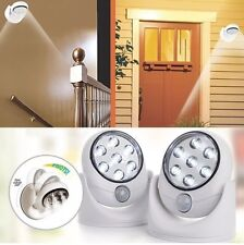 2x 7 LED PIR MOTION SENSOR CORDLESS SECURITY WALL LIGHT DOOR SHED CUPBOARD NEW !