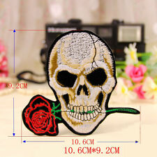 Embroidery Sew Iron on Patch Badge Skull With Rose Shape Applique Transfer Dress