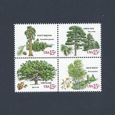 American Trees - Sequoia Pine Oak Birch - Vintage Set of 4 Stamps 38 Years Old!