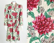 VTG 1940s FLORAL PRINT QUILTED ROBE HOUSECOAT HOUSE COAT WRAP DRESS Size S / M
