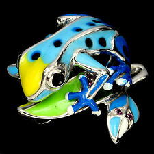Sterling Silver 925 Blue Enamel Frog On Leaves Design Pendant