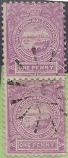 (XS25) 1888 NSW 1d violet vertical pair used in QLD (D)