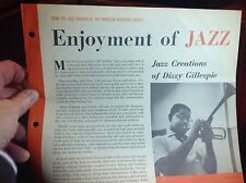 DIZZY GILLESPIE - Jazz Creations ~ARS 405 {nm dg orig} [WITH BOOKLET]  VERY RARE