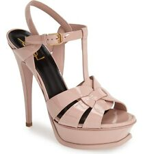 $895 YSL SAINT LAURENT TRIBUTE T-STRAP PLATFORM SANDAL PUMP SHOE Blush Patent 36