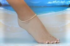 White Seed Pearl & Italian .925 Sterling Silver Ankle Bracelet 8 to 10 inches