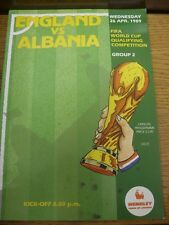 26/04/1989 England v Albania [At Wembley] (team changes). Item appears to be in