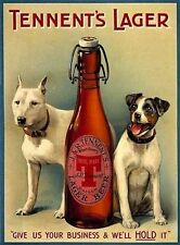 Tennent's Lager Beer, Dogs, Vintage Pub, Bar, Hotel, Beer, Medium Metal/Tin Sign