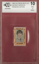 BEATLES GEORGE HARRISON 1964 STAMP RELIC BECKETT 10 MINT+ FAB FOUR MEMORABILIA