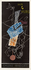 "Abstract Georges BRAQUE Antique Exhibition Poster ""On Four Walls"" FRAMED COA"