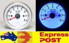 "White Face Blue LED 2"" Inch 52mm Tacho 0 - 8,000 RPM Rev Gauge Tachometer Turbo"