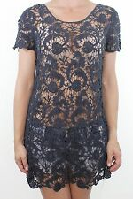 DARLING navy blue paisley crochet guipure see through long tunic top size S 10