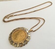Antique Victorian 1884 Solid 22ct Gold Full Sovereign Pendant & Rose Gold Chain