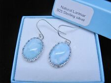 Larimar Natural Classic Crown 10X14mm Oval  925 Sterling Silver Dangle Earrings