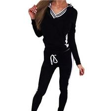 V-neck Set Women Long Sleeve Gym Sports Hoodie Tops Pant Outfits Bloouse L