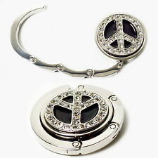 Crystal Peace Sign Silver Purse Handbag Bag Foldable Hanger Holder Hook NEW