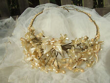 Antique 1920s Wax Orange Blossom Flower Wedding Head dress and Veil Perfect.
