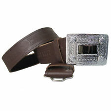 "Celtic Embossed Brown Leather Kilt Belt & Buckle Fits Sizes 28""-46"""