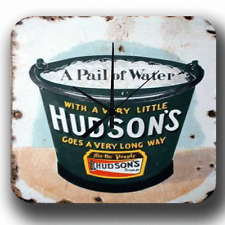 Hudson's Soap VINTAGE RETRO STYLE ADVERTISING METAL TIN SIGN WALL CLOCK