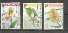 SINGAPORE -  3X USED BIG STAMPS # FLOWERS - ORCHIDS