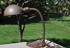 Antique Vintage Old   Gooseneck Table Desk Lamp Metal Ornate Art Deco Base