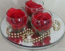 Stunning Wedding table flowers triple vase centrepiece red rose with plate