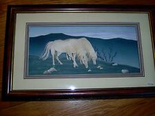 "NEW- UNIQUE - HORSES - PAPER SCULPTURE  3D  SHADOW BOX PICTURE - 14"" X 22.5"""