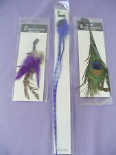 Lot/3 Feather Hair Extensions with Clips Sassy Inkahoots Purple Blue Peacock NEW
