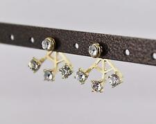 gold crystal ear jacket front back earrings faux pearl double look stud