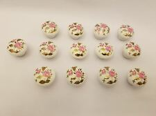 Pink Rose with Gold Leaves Ceramic Porcelain Cabinet Drawer Knobs Vintage Decals
