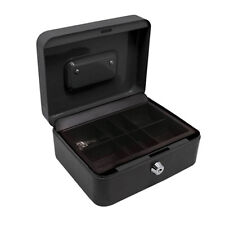 6 Inch Black Secure Steel Petty Cash Money Box Tin Lockable Storage Safe & Tray