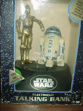 1995 STAR WARS R2D2 + C3PO ELECTRONIC TALKING COIN BANK