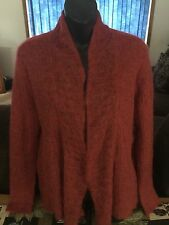 Eileen Fisher Sz M Rust color Mohair Sweater Open Cardigan