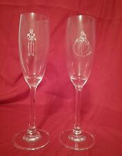 Pair of Disney Etched Wine Glass/Flute Set Prince Charming Cinderella NEW Rare