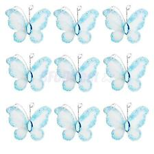 50 Piece Wired Mesh Stocking Glitter Butterflies Wedding Craft Decoration Blue