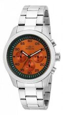 New Mens Invicta 19382 Specialty Orange dial Stainless Steel Watch