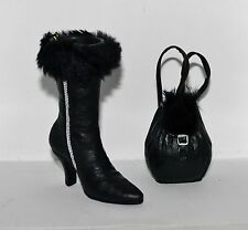 JC Penney FUR Trimmed Black HIGH HEEL BOOT SHOE w BACK PACK HANDBAG Ornaments