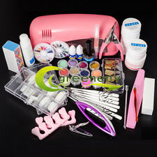 9W UV Pink Dryer Lamp Acrylic Powder Liquid Buffer Gel Tools Tips Nail Art Kit