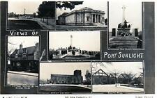 Port Sunlight Multi View unused RP old postcard by W J McCulloch Rock Ferry