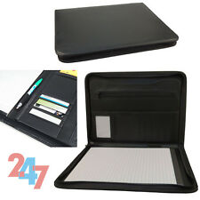 A4 Portfolio Document Folder Zipped Conference Executive Business Wallet Black