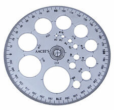 AACEE'S Plastic Transparent Pro-Circle Protractor Radius Template Drawing Scale