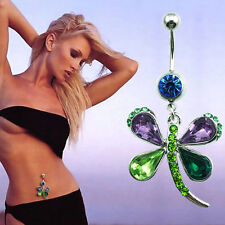 Rhinestone Crystal Butterfly Dangle Navel Belly Button Bar Ring Body Piercing